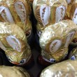 Ears of chocolate easter bunnies - Stock Photo