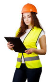 Attractive worker with reflector vest isolated on a over a white background — Stock Photo