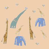 Naadloze patroon met baby-dier — Stockvector