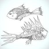 Vector tribal fish — Stock Vector
