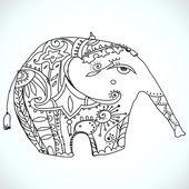 Vector oriental elephant design — Stock Vector