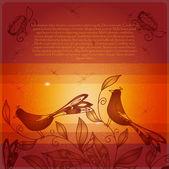 Bird and nest — Stock Vector