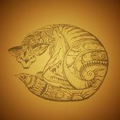 Tribal cat — Stock Vector