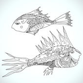 Tribal fish — Stock Vector