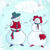 Snowman card — Stock Vector
