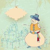 Carte bonhomme de neige — Vecteur