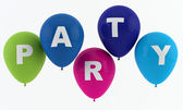 Party balloons spelling party — Stock Photo