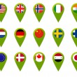 World map flag pins — Stock Photo