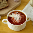 Ukrainian and Russian red borscht, soup — Stock Photo