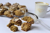 Homemade cookies from rye dough with nuts — Stock Photo