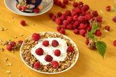Homemade granola with yogurt, raspberries and tea — Stock Photo