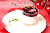Panna cotta with plum jelly for Christmas and New Year — Stock Photo