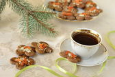 Christmas cookies, decorated with sesame seeds and dried apricots — Stock Photo