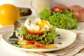 Poached egg on toast with vegetables — Stok fotoğraf