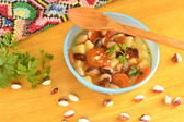 Vegetable soup with beans, selective focus — Stock Photo