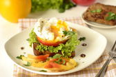 Poached egg on toast with vegetables — Stock Photo