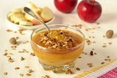 Pumpkin mousse with bananas, apples and granola — Stock Photo