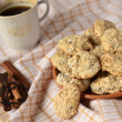 Sesame-chocolate cookies with coffee — Stock Photo