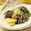 Fish with rosemary, rice and slice of lemon — Stock Photo #36540991