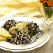 Fish with rosemary, rice and slice of lemon — Stock Photo #37969225
