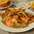 Thin pancakes filled with pumpkin and cottage cheese cream — Stockfoto #39964805