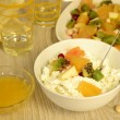 Cottage cheese with fruit salad and honey — Stock Photo #46501603