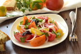 Salad of colorful tomatoes — Stock Photo