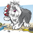 Shaggy Dog Brushing His Far - Stok Vektör