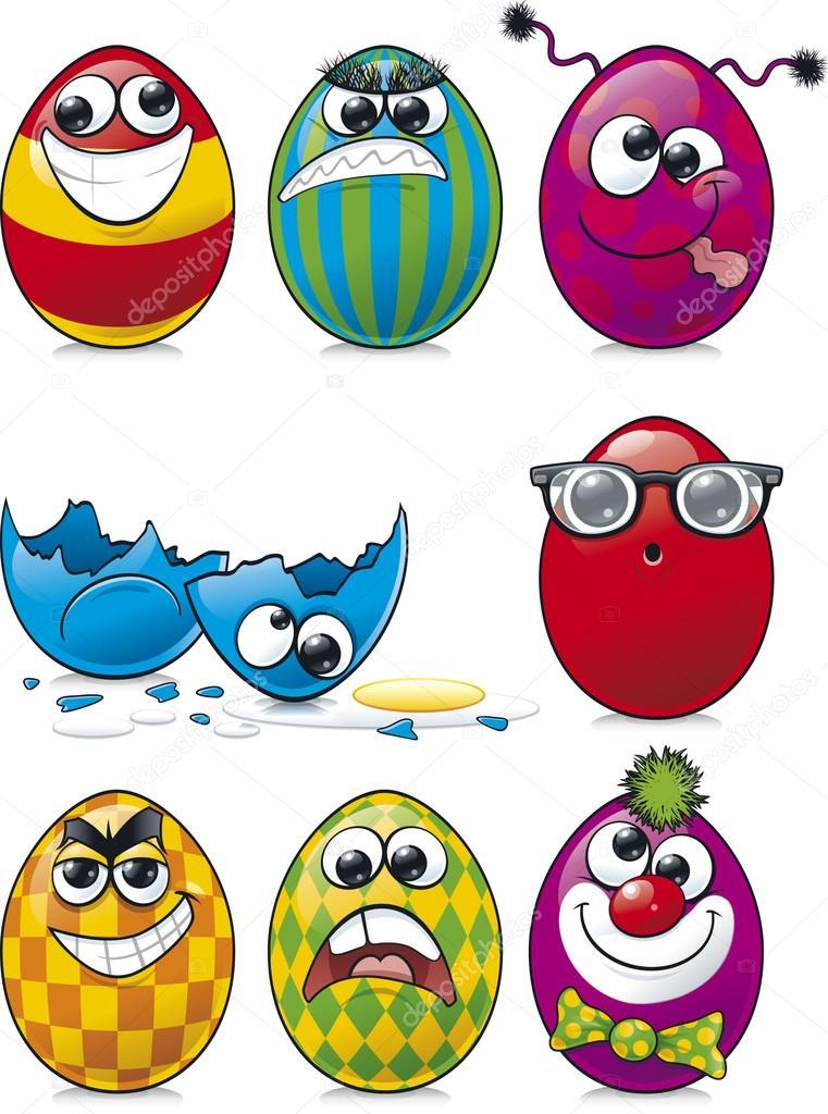 Facce di uovo pasqua — vettoriali stock scribbles