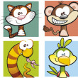 Cartoon Jungle Animal Collection — Imagen vectorial