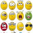 Egg Shaped Emoticon Cartoon Collection. — Stok Vektör