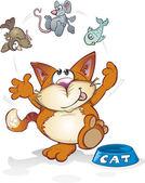 Cartoon Juggling Cat — Stock Vector