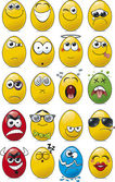 Egg Shaped Emoticon Cartoon Collection. — Stock Vector