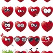 Stock Vector: Cartoon Heart Icon Set