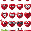 Cartoon Heart Icon Set - Stock Vector
