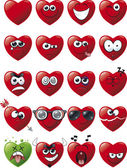 Cartoon Heart Icon Set — Stock Vector