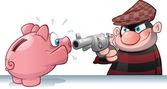 Piggy Bank Burglar — Stock Vector