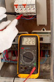 Measuring with multimeter — Stock Photo