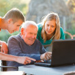 Teaching grandpa — Stock Photo