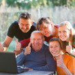 Family thumbs up — Stock Photo