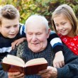 Reading to my grandchildren — Stock Photo