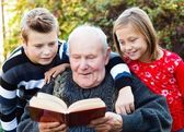 Reading to my grandchildren — Stock Photo