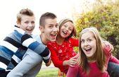 Au pair with children — Stock Photo
