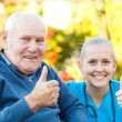 Thumbs up for nursing homes — Stock Photo