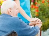 Care for Elderly in Wheelchair — Stock Photo