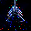 Christmas tree made of martini glasses - Stock Photo