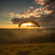 Stock Photo: Landing parachutist