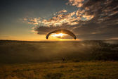 Landing parachutist — Stock Photo