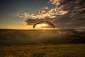 Landing parachutist — Stock Photo