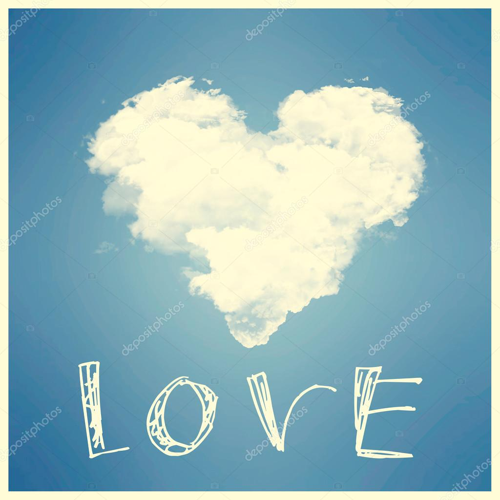 Heart from cloud in the blue sky, love concept.  Stock Photo #20063115
